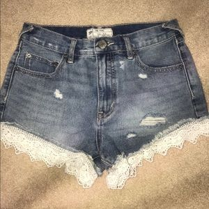 NWOT Free People Laced Denim Shorts